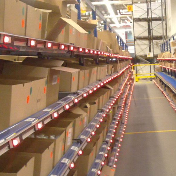 WAREHOUSE MANAGEMENT SYSTEM WITH A PICK TO LIGHT SYSTEM