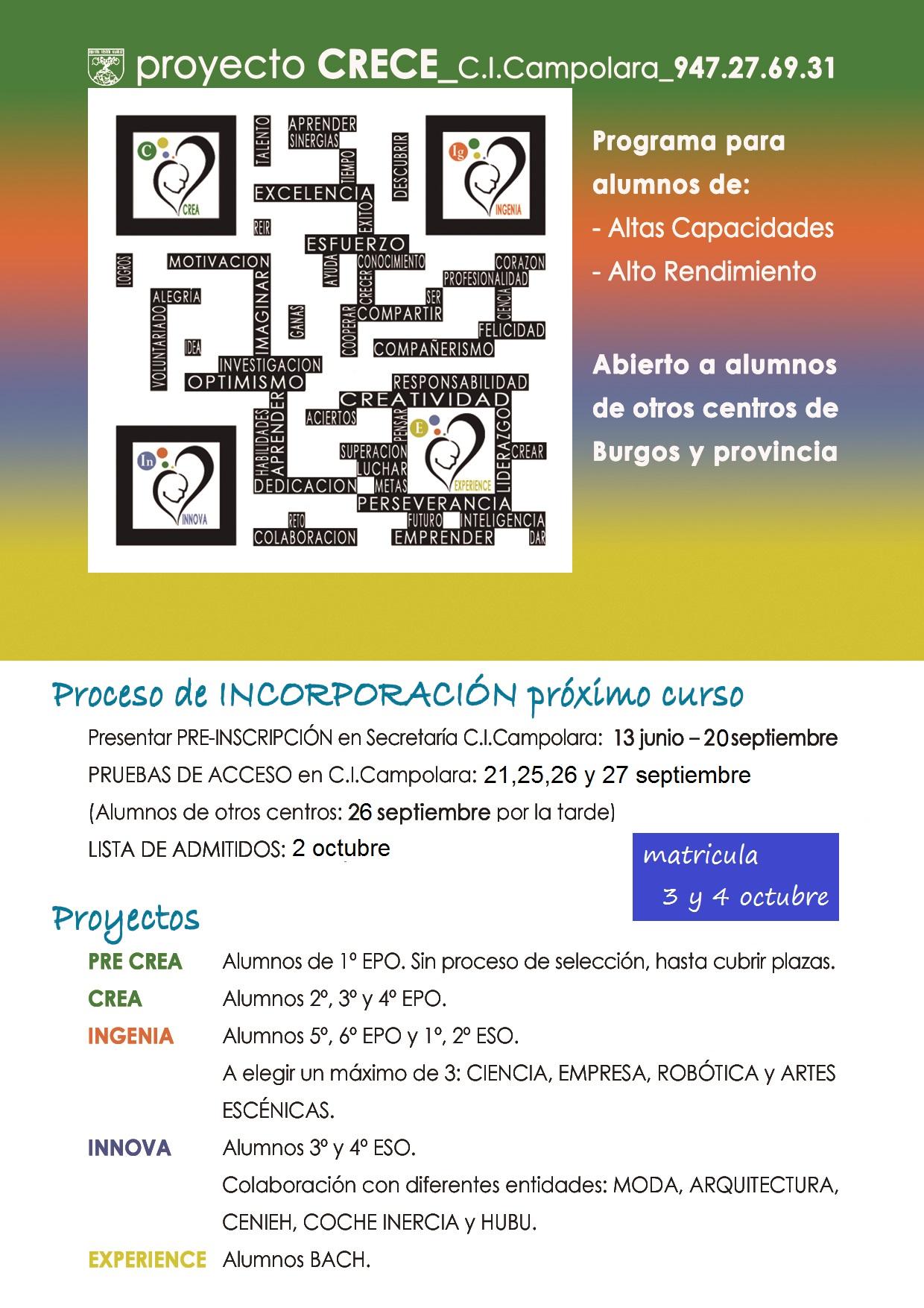 INSCRIPCIONES  PROYECTO CRECE CURSO 17/18